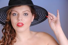 Free Attractive Young Lady In Black Hat Stock Image - 6861301