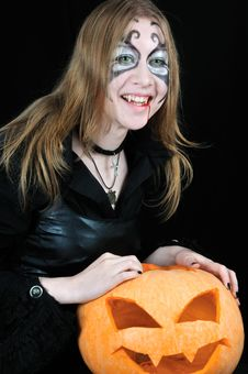 Free Laughing Vampire Girl With Halloween Pumpkin Royalty Free Stock Photos - 6861618