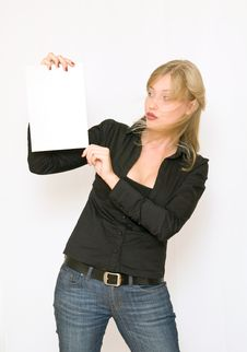 Free Young Women Holding Blank Paper Stock Photo - 6861770