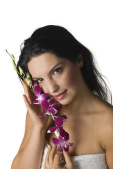 Free Woman With Orchid Royalty Free Stock Image - 6863076
