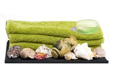Isolated Towels, Soap And Shells With Ancient Jug Royalty Free Stock Image