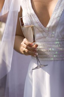 Bride With Wine Glass Royalty Free Stock Image
