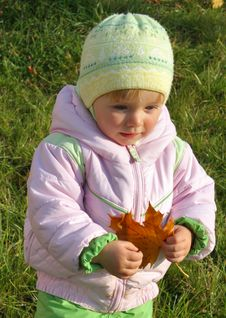 Free Little Girl With Maple-leaf Royalty Free Stock Photography - 6864717