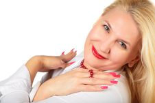 Free Blond Middleaged Woman With Fingers Royalty Free Stock Photos - 6866088