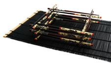 Chopsticks On The Bamboo Rug Stock Photo