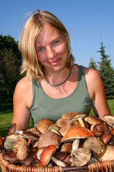 Free Woman With Big Basket Full Of Mushrooms Royalty Free Stock Photography - 6867457