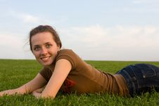 Free Beautiful Young Woman Relaxing In The Grass. Stock Photos - 6867993