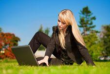 Free Businesswoman Working On Laptop Stock Image - 6868131