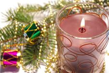 Free Christmas Candle And Decoration Royalty Free Stock Photos - 6868598