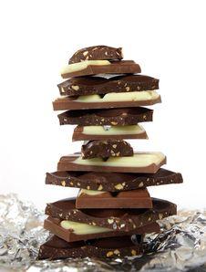 Stack Of Chocolate Blocks On White Stock Photo