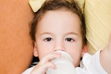 Small Boy Drinking Milk Stock Photos