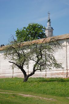 Free Monastery Wall, Tree And Church Stock Image - 6868881