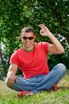 Young Man Giving OK Gesture Royalty Free Stock Images