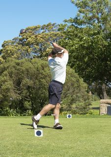 Free Golfer Hitting The Ball Off The Tee Box Stock Images - 6869734