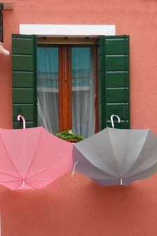 Free Burano House With Umbrellas Royalty Free Stock Photography - 6869837