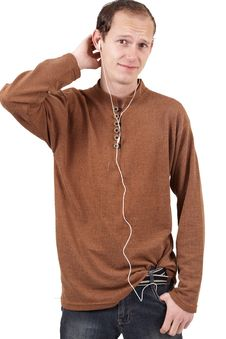 Free Young Caucasian Man Listening To Music Stock Photography - 6870162