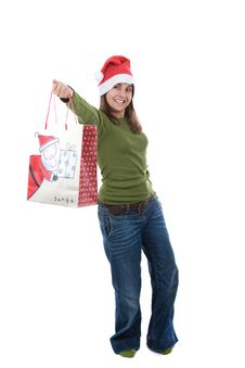 Free Young Santa Woman Holiday Holding Present Stock Photography - 6870202