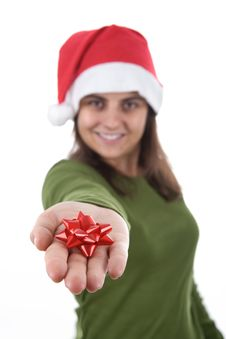 Free Young Santa Woman Holding Red Ribbon In The Hand Stock Photography - 6870282