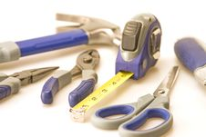 Focus On Tape Measure And Tools Royalty Free Stock Images