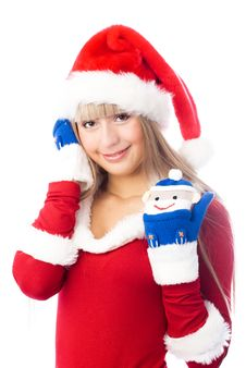 Free Pretty Girl Wearing Funny Mittens Stock Photo - 6872340