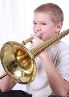 Free Trombone Player 2 Royalty Free Stock Image - 6872676