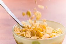 Free Corn Flakes With Milk And Spoon Stock Photo - 6872870