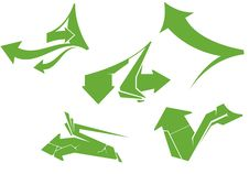 Set Of Green Arrows Stock Images