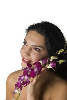 Free Woman With Orchid Stock Photo - 6872910