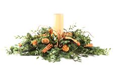 Oranges And Cinnamon Christmas Table Decoration Stock Photography