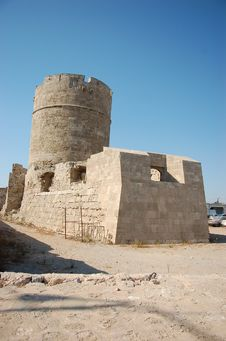 Free Restoration Of A Tower In Rhodes Port. Stock Image - 6874001