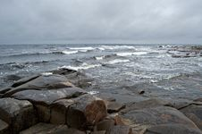 White Sea Storm Landscape With Stones Royalty Free Stock Photography
