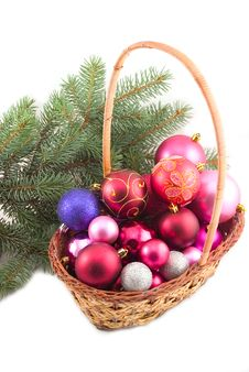 Free Basket With New Year S Spheres Stock Photos - 6876683