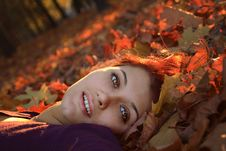 Free Girl In Leaves Stock Images - 6876734
