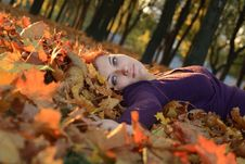Free Girl In Leaves Royalty Free Stock Image - 6876786