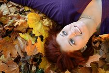 Free Girl In Leaves Royalty Free Stock Photography - 6877057