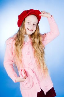 Free Smiling Little Girl In Red Cap Royalty Free Stock Photography - 6879077