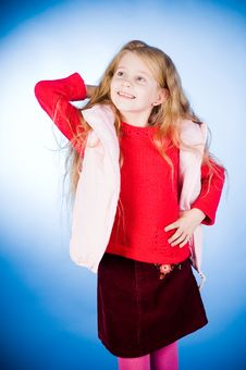 Free Funny Girl In Red Sweater Stock Photography - 6879192