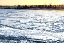 Free Tracks On Frozen River Stock Photography - 6879822