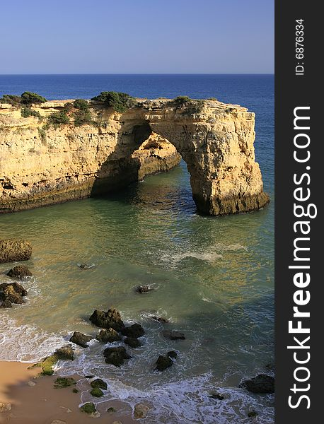 Coastline with a natural arch