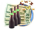 Free Butterflies Fly Dollars And Wine Royalty Free Stock Photos - 6886868