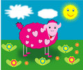 Free Pink Sheep With Hearts Pattern Stock Photo - 6887270