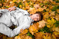 Free Young Woman And Autumn Leaves Horizontal Royalty Free Stock Images - 6888499