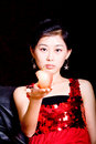 Free Lady And Red Apple Stock Images - 6889914