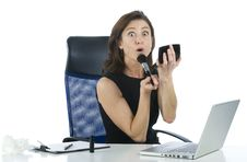 Free Successful Business Woman Making Up Looking Someth Royalty Free Stock Image - 6882996