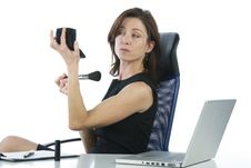 Free Successful Business Woman Making Up Looking Someth Stock Photography - 6883082