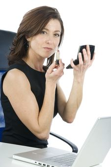 Free Successful Business Woman Making Up Looking Someth Royalty Free Stock Photos - 6883118