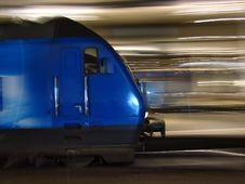 Blue Underground Train Running Royalty Free Stock Photography