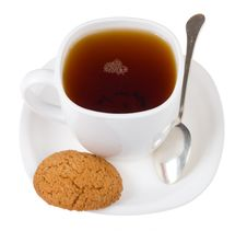 Free Tea And Spoon With Cookie Stock Photo - 6883860