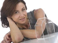 Mature Woman With Transparent Little House Royalty Free Stock Image
