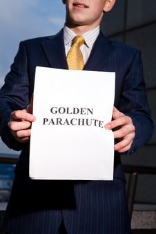 Free Manager Holding Document Golden Parachute Royalty Free Stock Photo - 6884215
